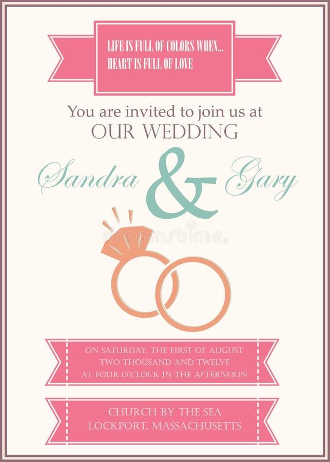 Красивое винтажное приглашение свадьбы иллюстрация вектора