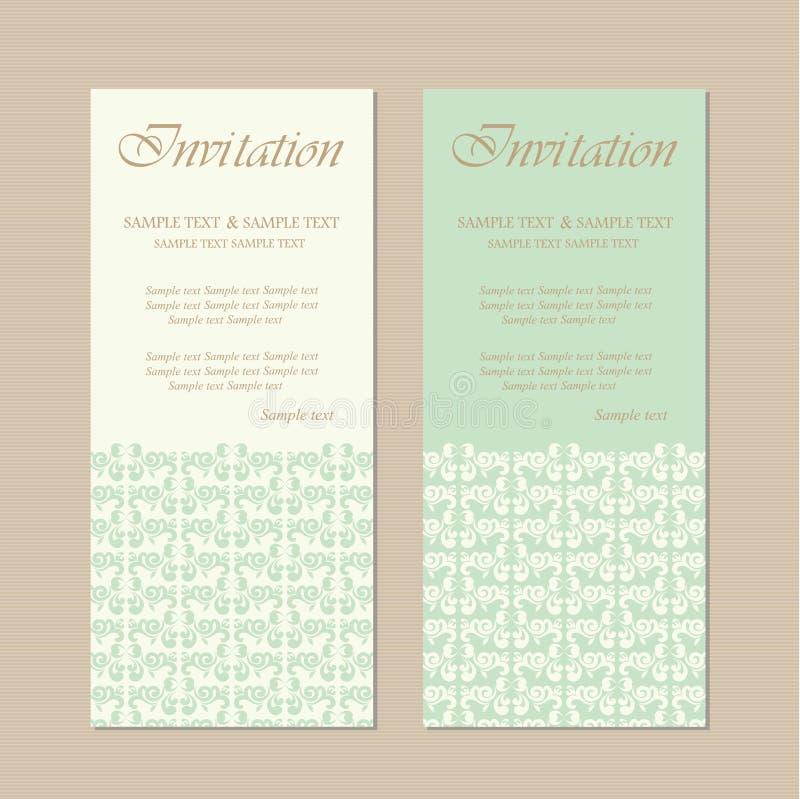 Красивое винтажное приглашение свадьбы иллюстрация штока