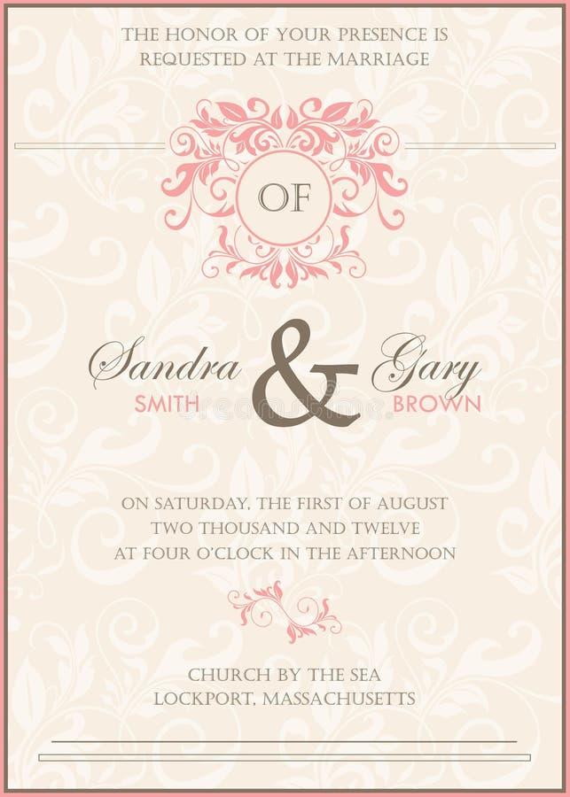 Красивое винтажное флористическое приглашение свадьбы иллюстрация штока