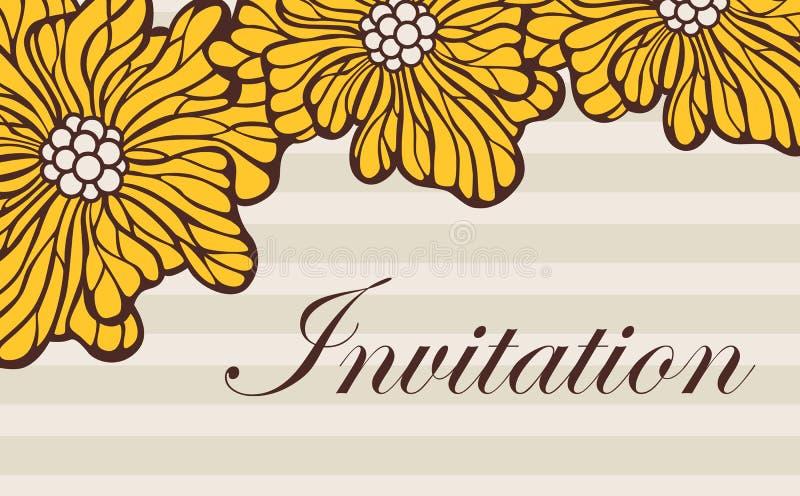 Красивое винтажное флористическое приглашение свадьбы бесплатная иллюстрация