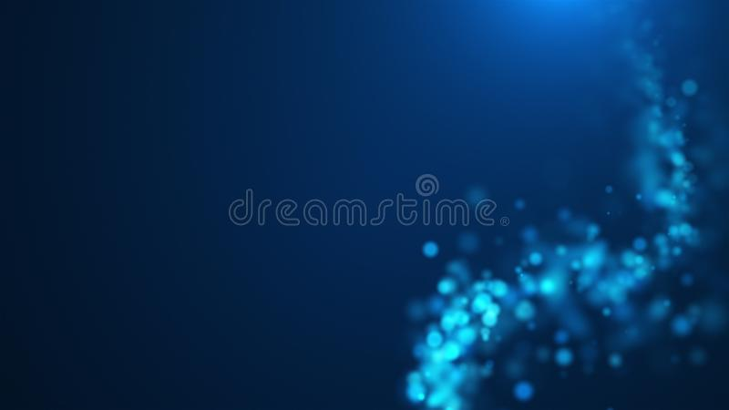 Красивое голубое накаляя bokeh, малая глубина поля, компьютера произвело абстрактную предпосылку, 3D представляет фон иллюстрация вектора