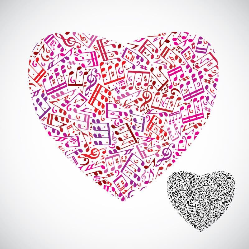 Красивое декоративное сердце вектора заполнило с isol музыкальных примечаний иллюстрация вектора