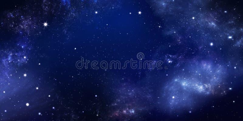 Красивое звездное небо, галактическая туманность, предпосылка космоса стоковые фотографии rf
