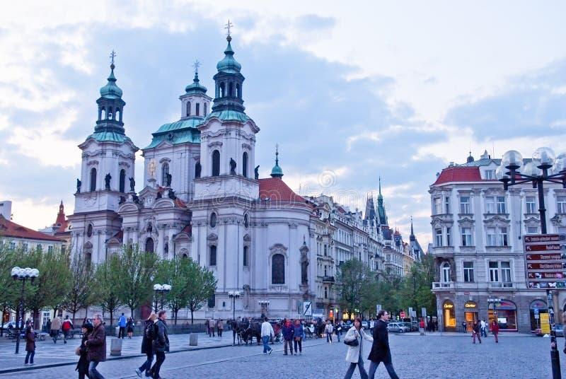 Красивое здание виска в старой городской площади Прага стоковое фото rf