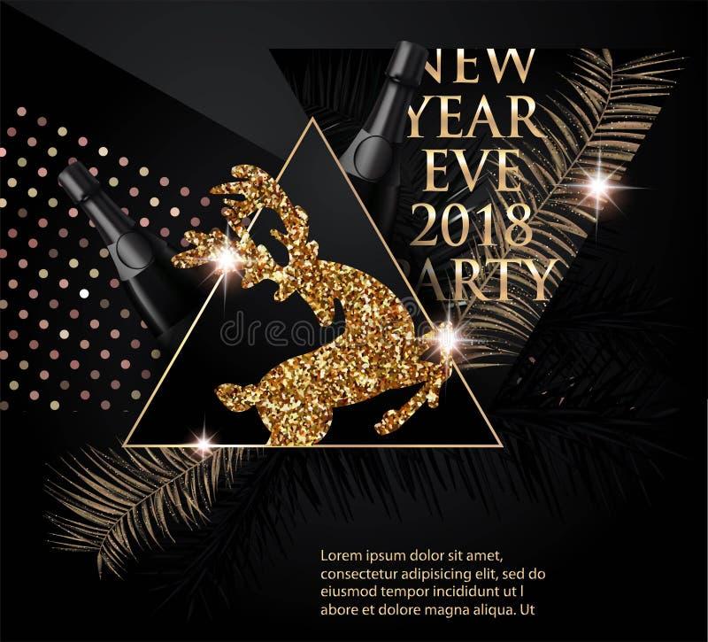 Красивое знамя партии Нового Года с завтрак-обедами, оленями, бутылками шампанского и треугольниками рождественской елки бесплатная иллюстрация