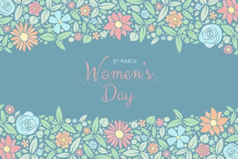 Красивое знамя при нарисованная рука цветет на день ` s женщин стоковое изображение