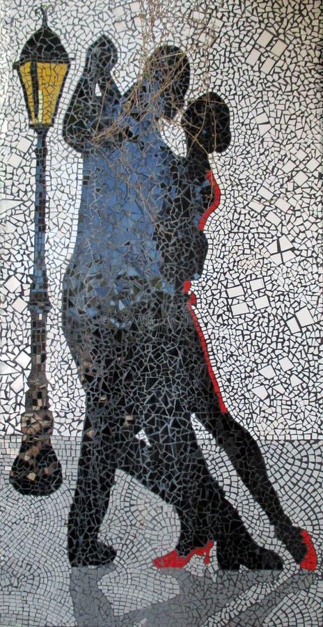 Красивое изображение в настенной росписи танцоров танго Аргентины с фонариком за Буэносом-Айрес Аргентиной бесплатная иллюстрация