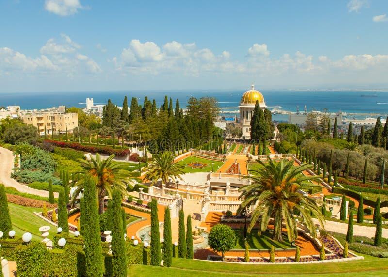 Красивое изображение садов Bahai в Хайфе Израиле стоковые фото