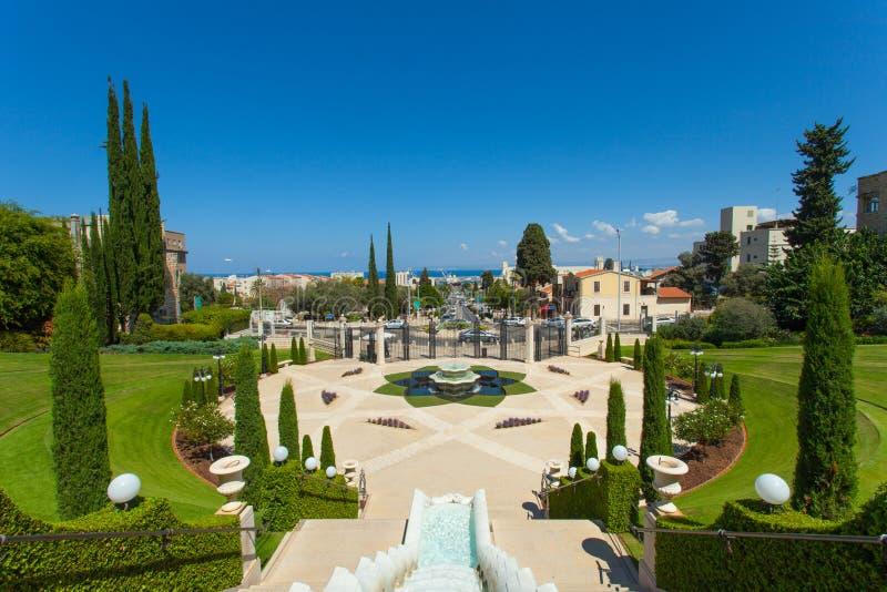 Красивое изображение садов Bahai в Хайфе Израиле стоковые фотографии rf