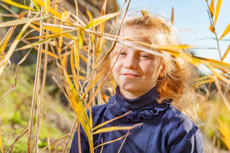 Красивое, красивое и маленькая девочка в голубом свитере усмехаются в тростниках на банке реки, ее волос подсвеченных  стоковые изображения rf