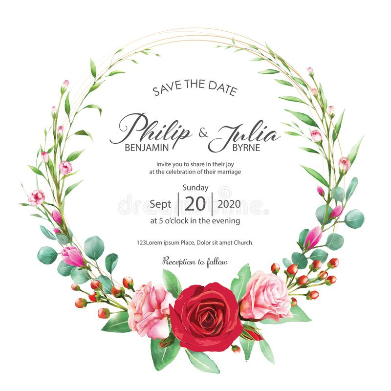 Красивое красное и розовое флористическое, карточка приглашения свадьбы цветка на белой предпосылке Вектор, цвет воды Подняла, ма иллюстрация штока