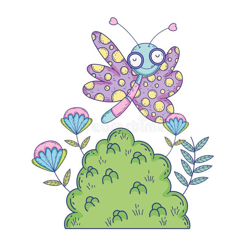 Красивое летание бабочки с кустом иллюстрация вектора