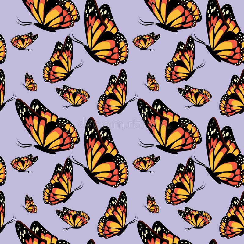 Красивое летание и сидя монарх бабочек на светлом - картина пурпурной предпосылки безшовная иллюстрация вектора