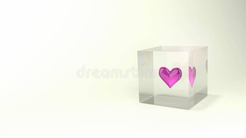 Красивое лоснистое розовое сердце в сияющем кубе стоковая фотография rf