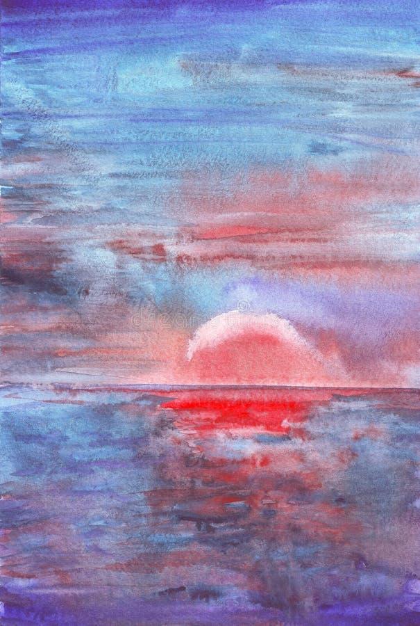 Красивое море на предпосылке акварели крася иллюстрация вектора