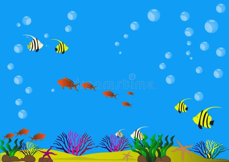 Красивое дно моря с раковинами, водорослями, рыбами и песочным дном бесплатная иллюстрация