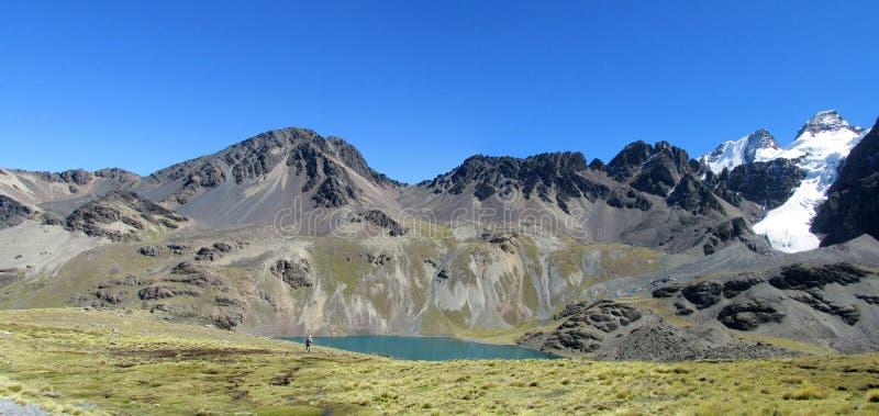 Красивое озеро горы в Андах, кордильерах реальных, Боливии стоковые изображения rf