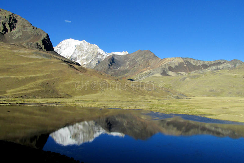Красивое озеро горы в Андах, кордильерах реальных, Боливии стоковое изображение
