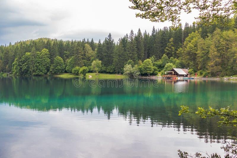 Красивое озеро лес бирюзы в Belopeska, Италии стоковые изображения