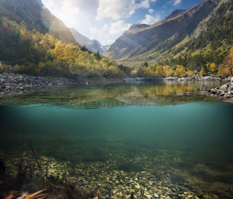 Красивое озеро между банками зеленого цвета и горами стоковая фотография