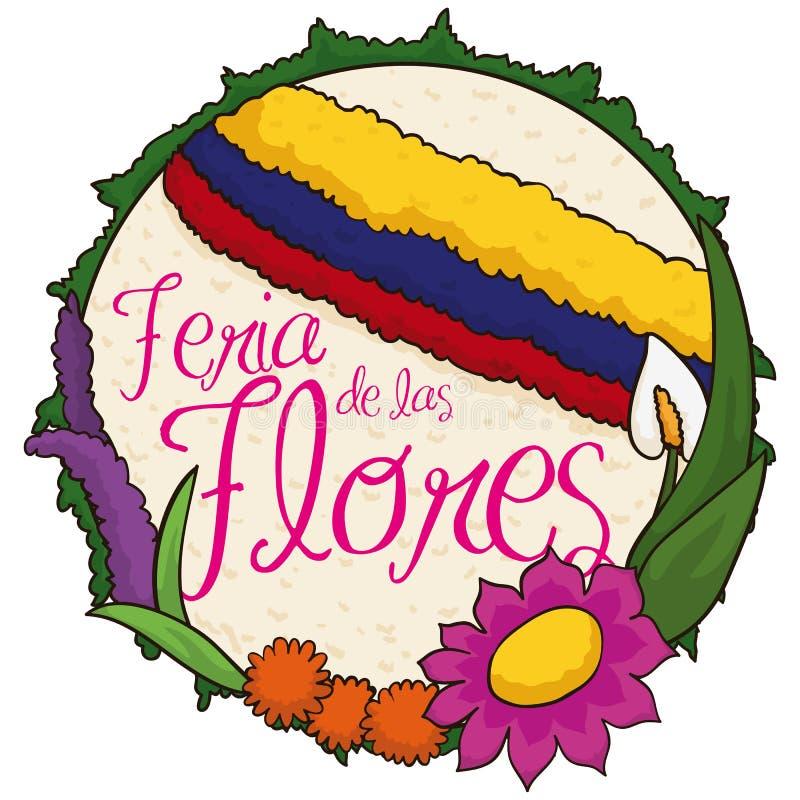 Красивое округленное Silleta и цветки для цветков фестиваля колумбийца, иллюстрации вектора иллюстрация штока