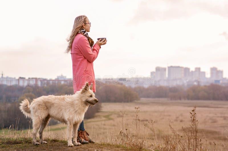Красивое положение девушки на верхней части холма с большой белой собакой и смотреть город в солнечном свете стоковая фотография