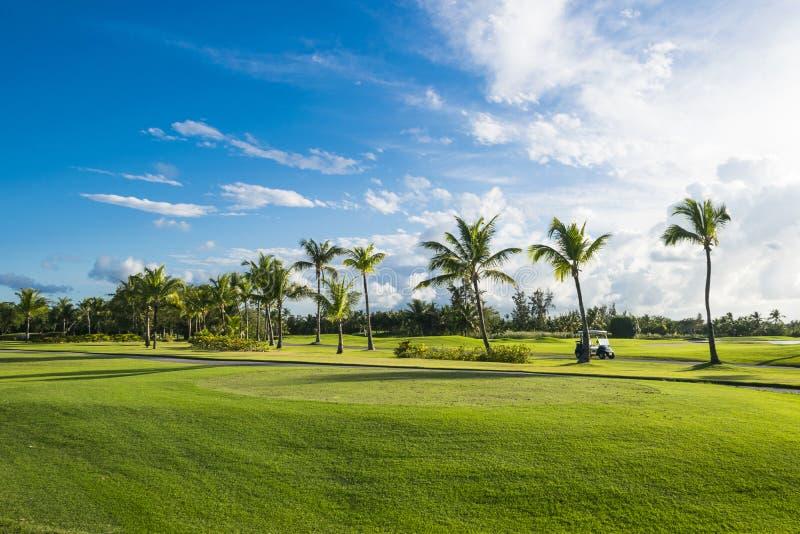 Красивое поле для гольфа на восходе солнца, голубое небо панорамы утра стоковая фотография rf