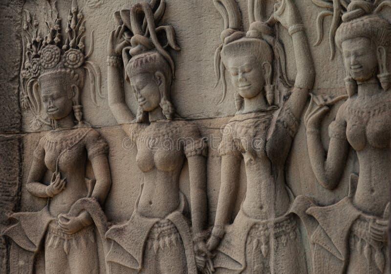 Красивое резное изображение Apsara стоковое фото rf