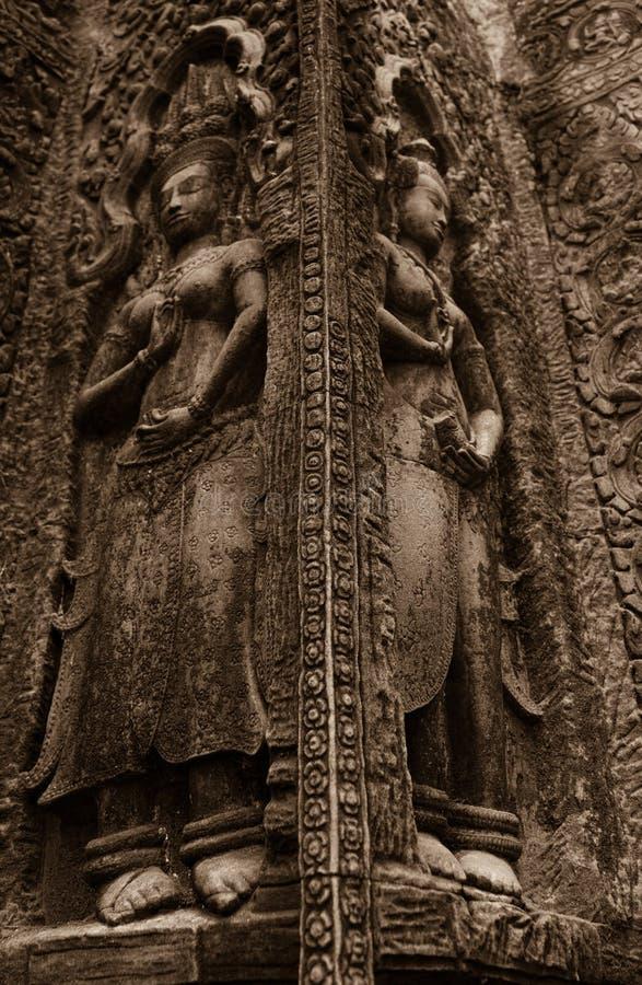 Красивое резное изображение Apsara стоковое изображение rf