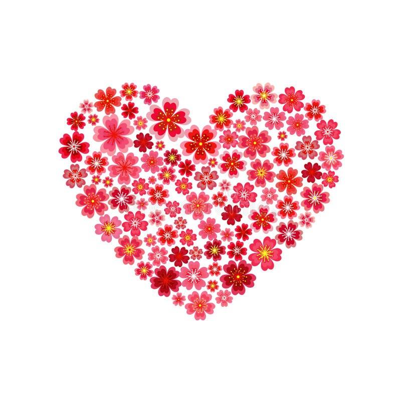 Красивое сердце цветка Сакуры вектор иллюстрация вектора