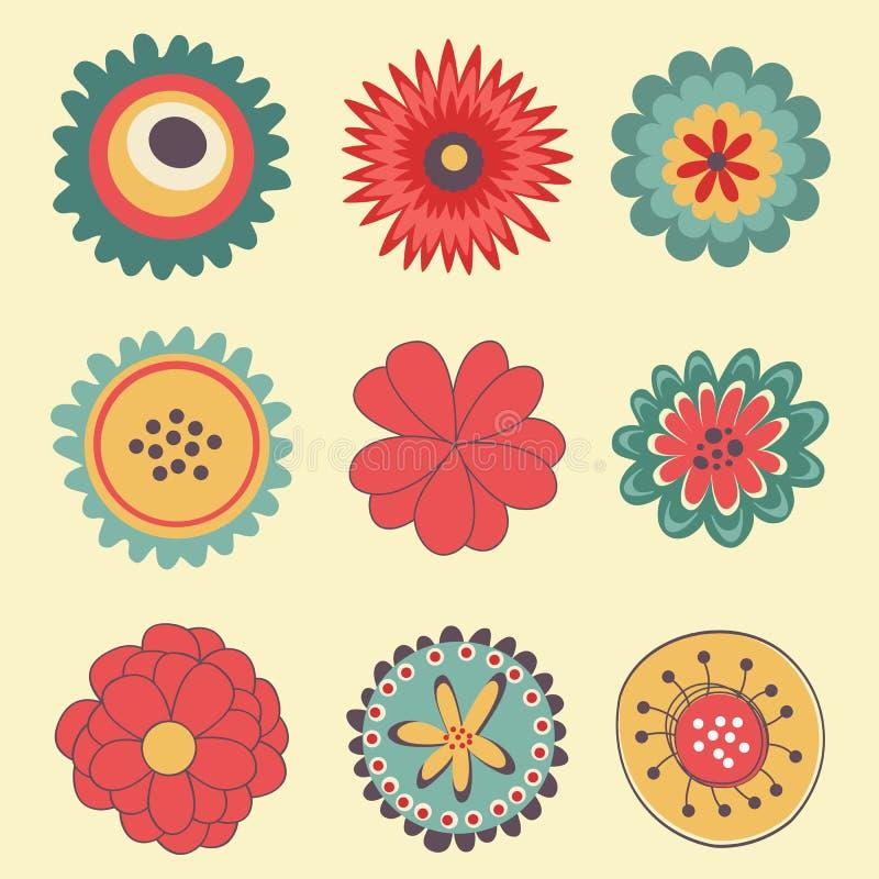 Красивое собрание больших цветков бесплатная иллюстрация