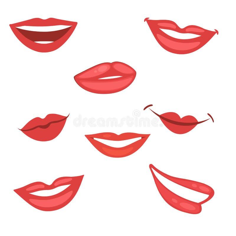 Красивое собрание губ иллюстрация вектора