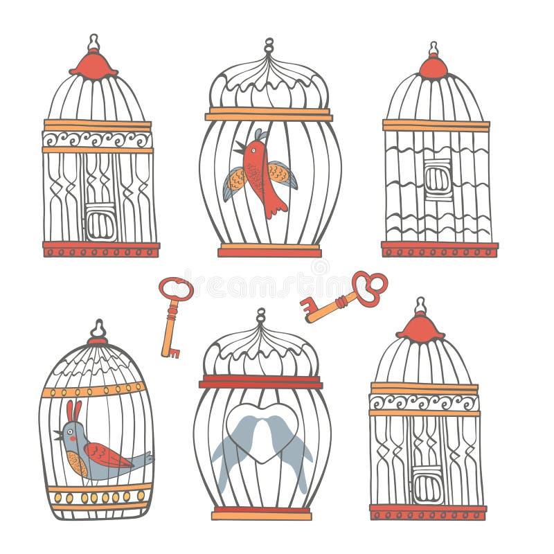 Красивое собрание клеток птицы и маленьких птиц иллюстрация штока