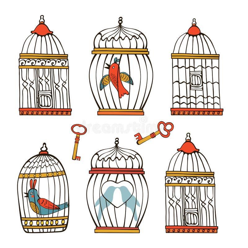 Красивое собрание клеток птицы и немного бесплатная иллюстрация