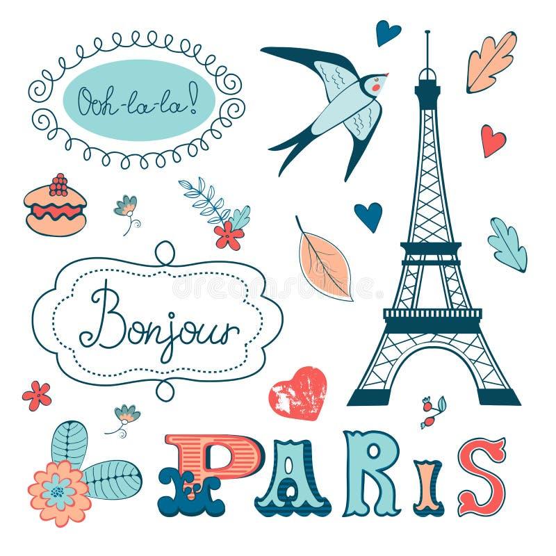 Красивое собрание Парижа связало график иллюстрация вектора
