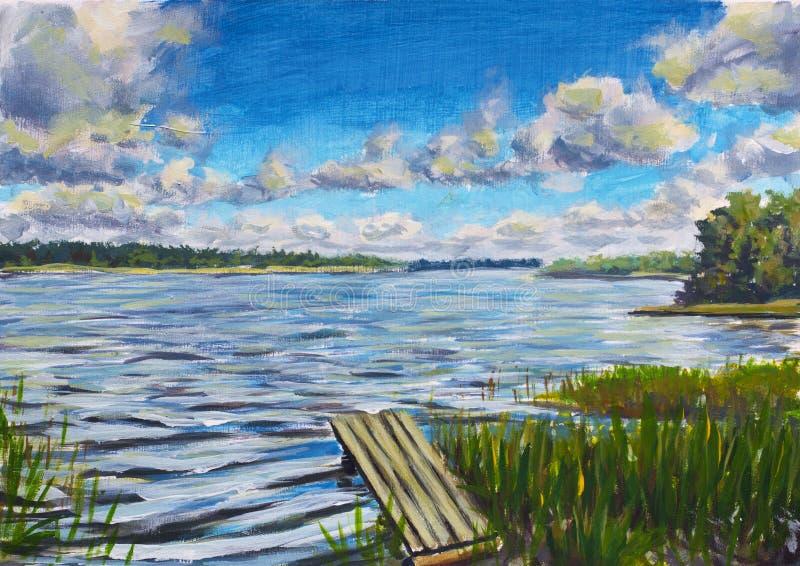 Красивое фиолетовое река, большие облака против голубого неба, иллюстрация вектора