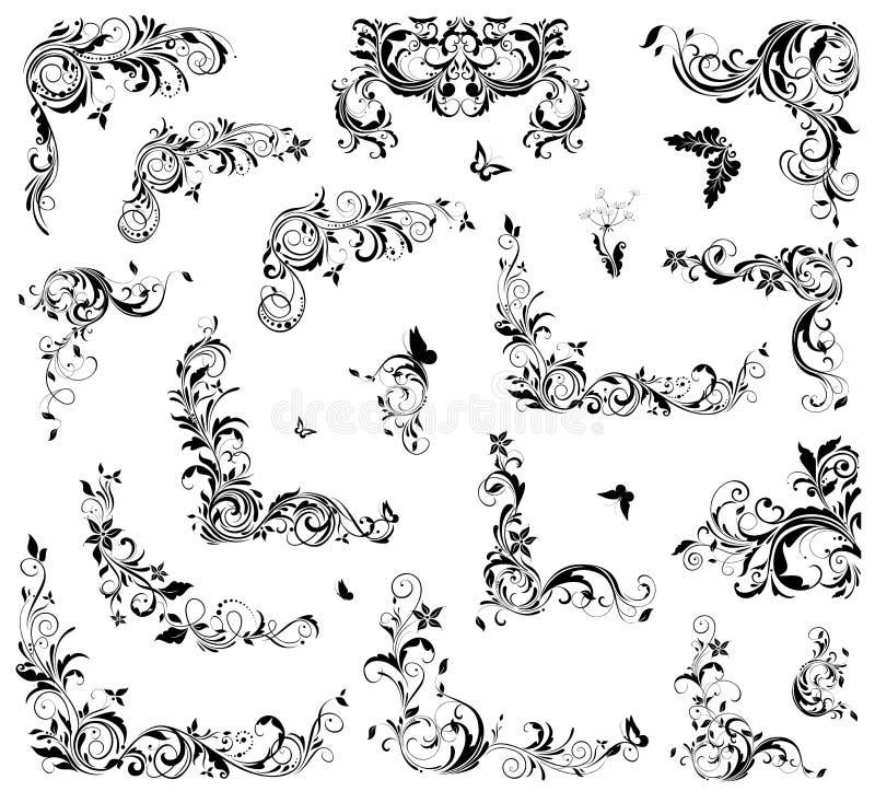 Красивое флористическое винтажное собрание угла и заголовка для дизайна свадьбы, названий книги, поздравительной открытки, пригла иллюстрация штока
