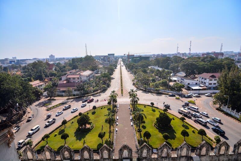 Красивое фото дуги triomphe во Вьентьян Лаосе, Азии стоковое изображение