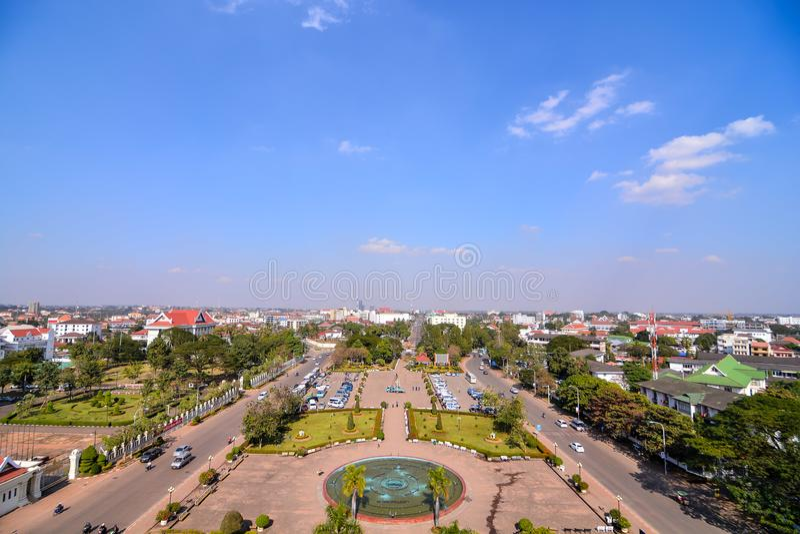 Красивое фото дуги triomphe в Вьентьян Лаосе, Азии стоковое изображение rf