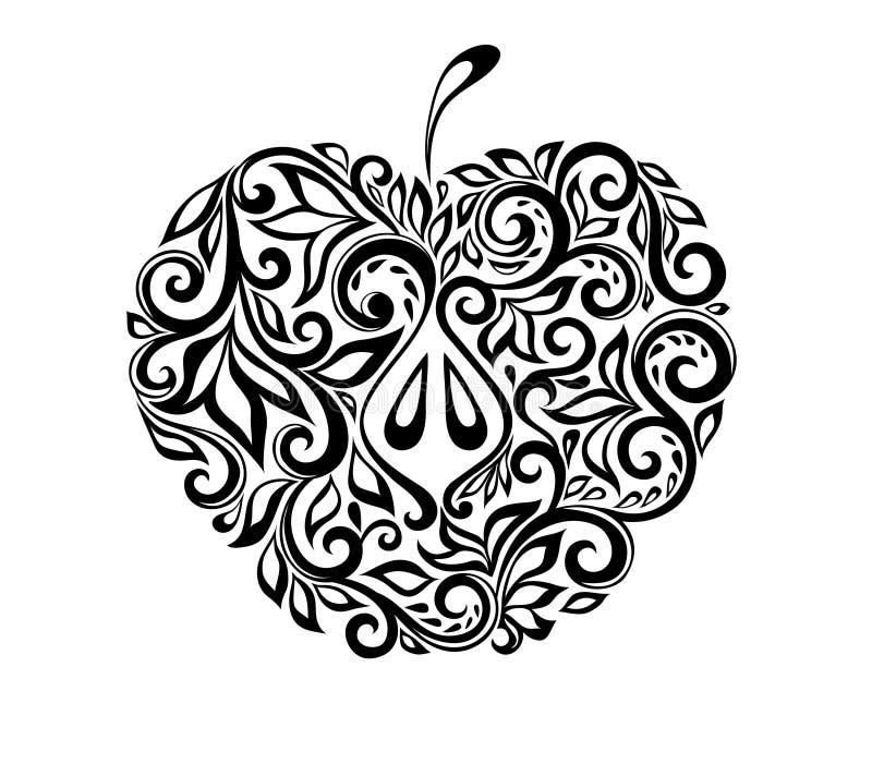 Красивое черно-белое яблоко украшенное с flo иллюстрация вектора