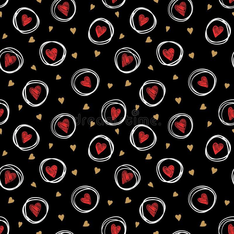 Красивое monochrome золото, красный цвет, черно-белая безшовная картина с doodling сердцем эскиза дизайн для поздравительной откр иллюстрация штока