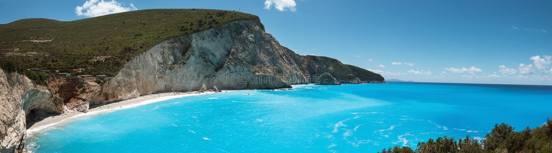Красивое panoram побережья пляжа Порту Katsiki на острове лефкас, Греции стоковые фото