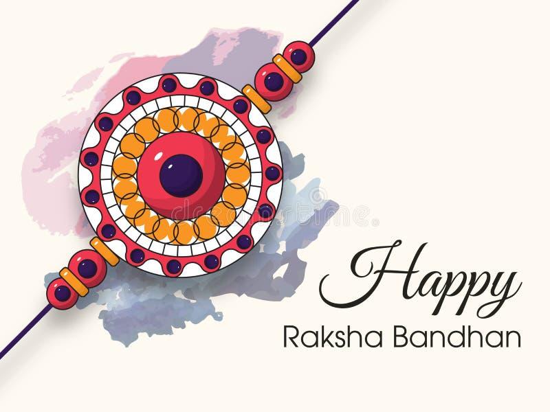 Красивое rakhi с предпосылкой для счастливых торжеств Raksha Bandhan стоковое изображение