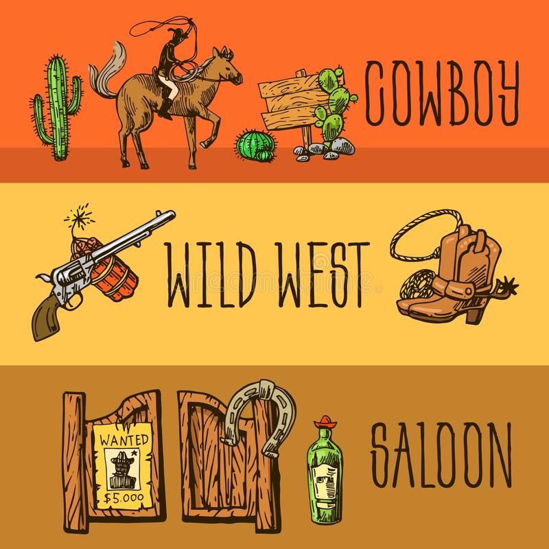 Красивой комплект нарисованный рукой Диких Западов иллюстрации иллюстрация штока