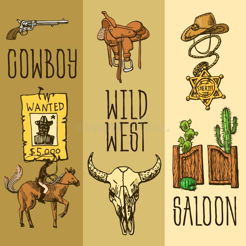 Красивой комплект нарисованный рукой Диких Западов иллюстрации бесплатная иллюстрация