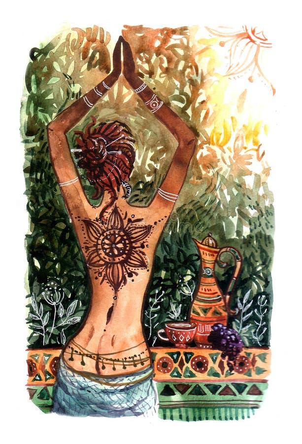 Красивой нарисованная рукой маленькая девочка иллюстрации акварели встречает th иллюстрация штока