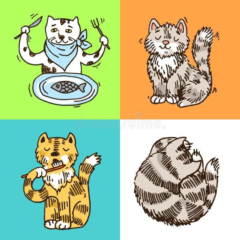Красивой нарисованные рукой коты иллюстрации вектора милые иллюстрация штока
