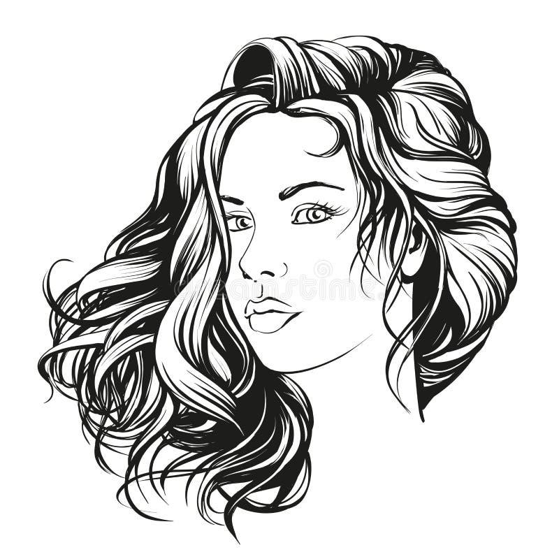 Красивой эскиз иллюстрации вектора стороны женщины нарисованный рукой иллюстрация вектора