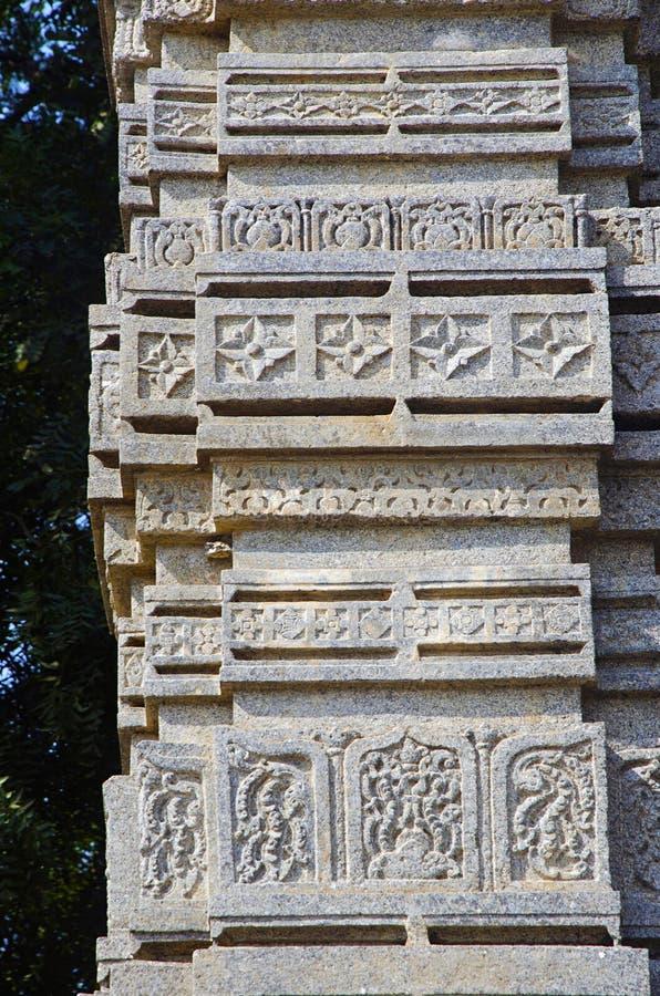 Красиво высекаенный штендер, ворот Toranas Enterance, комплекс виска, форт Warangal, Warangal, Telangana стоковые фото