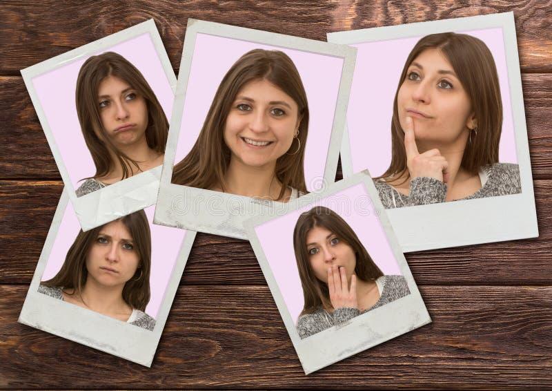 Красиво молодая кавказская девушка показывает разные выражения лица на поляроиде стоковое изображение rf